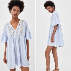 Zara short striped dress with embroidery
